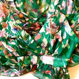 NO BRAND gorgeous green floral maxi dress M